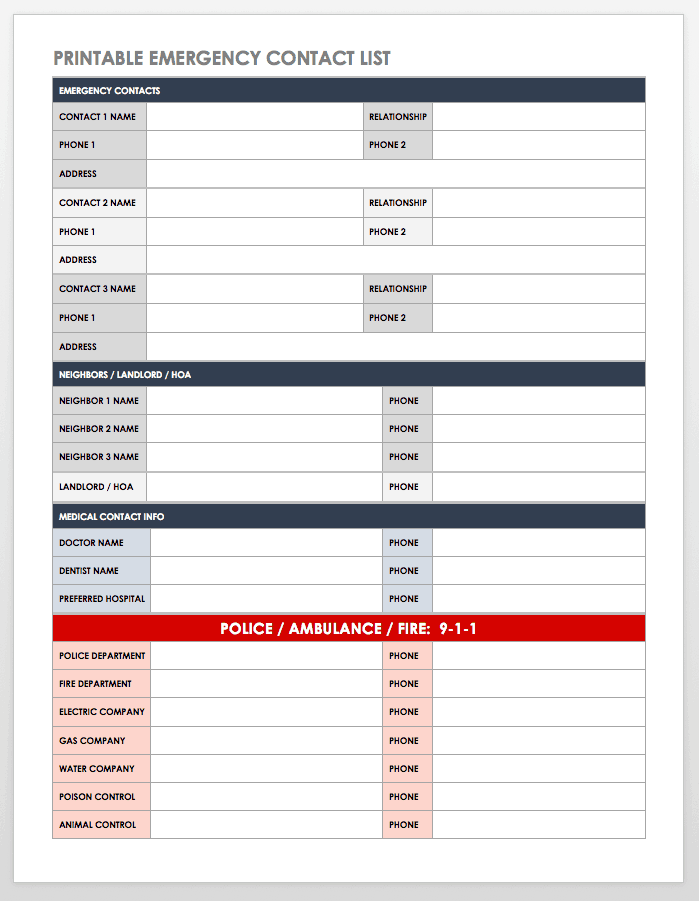 Free Contact List Templates | Smartsheet