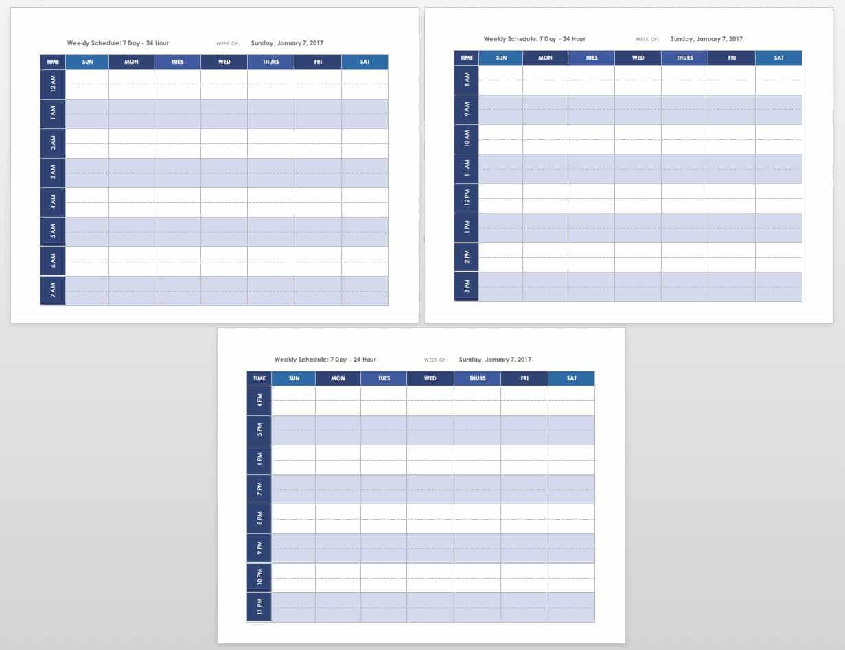 Printable weekly calendar template landscape