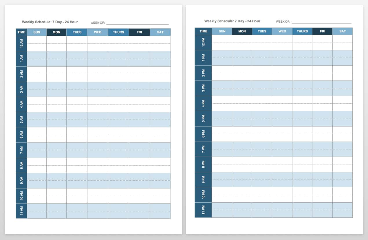 Universal image regarding free printable weekly schedule