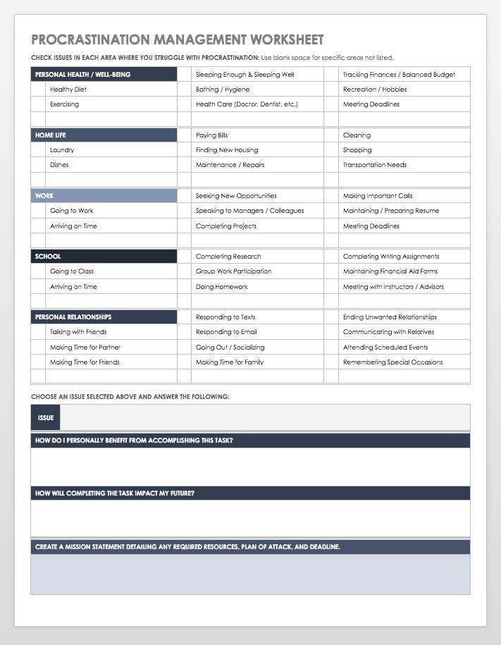 Procrastination Management Worksheet Template