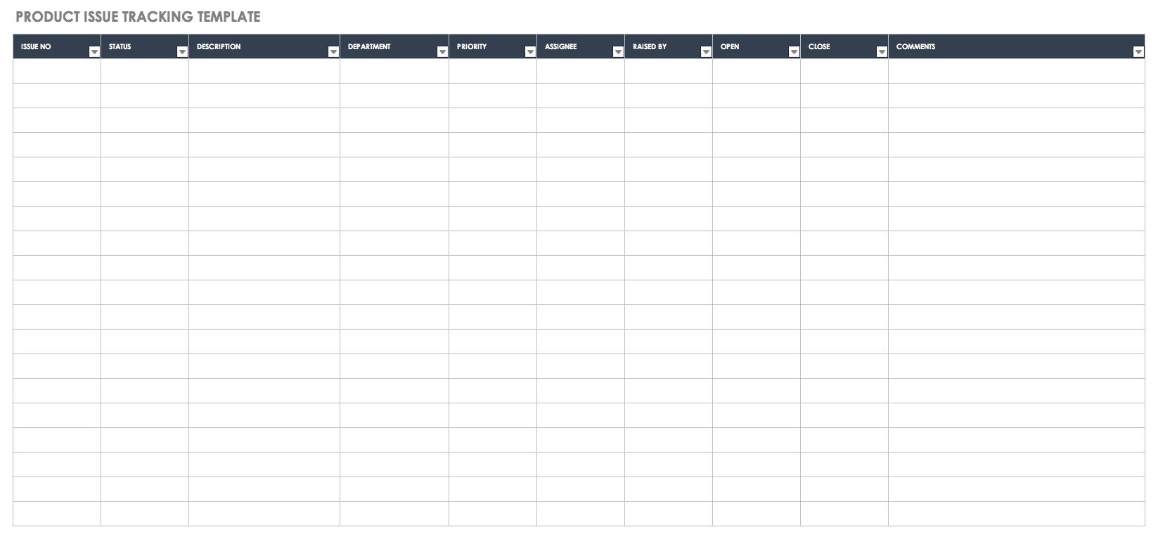 Free Issue Tracking Templates Smartsheet