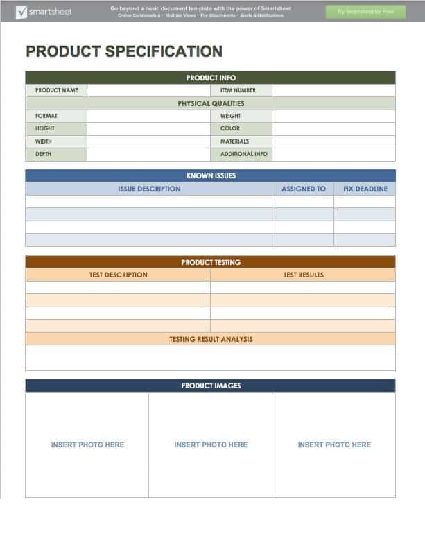 new product specification template - free product management templates smartsheet