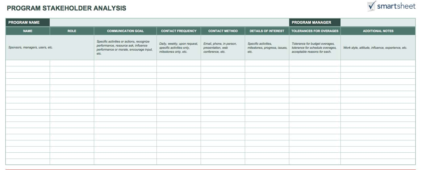 Free stakeholder analysis templates smartsheet ic program stakeholder analysisg accmission Image collections