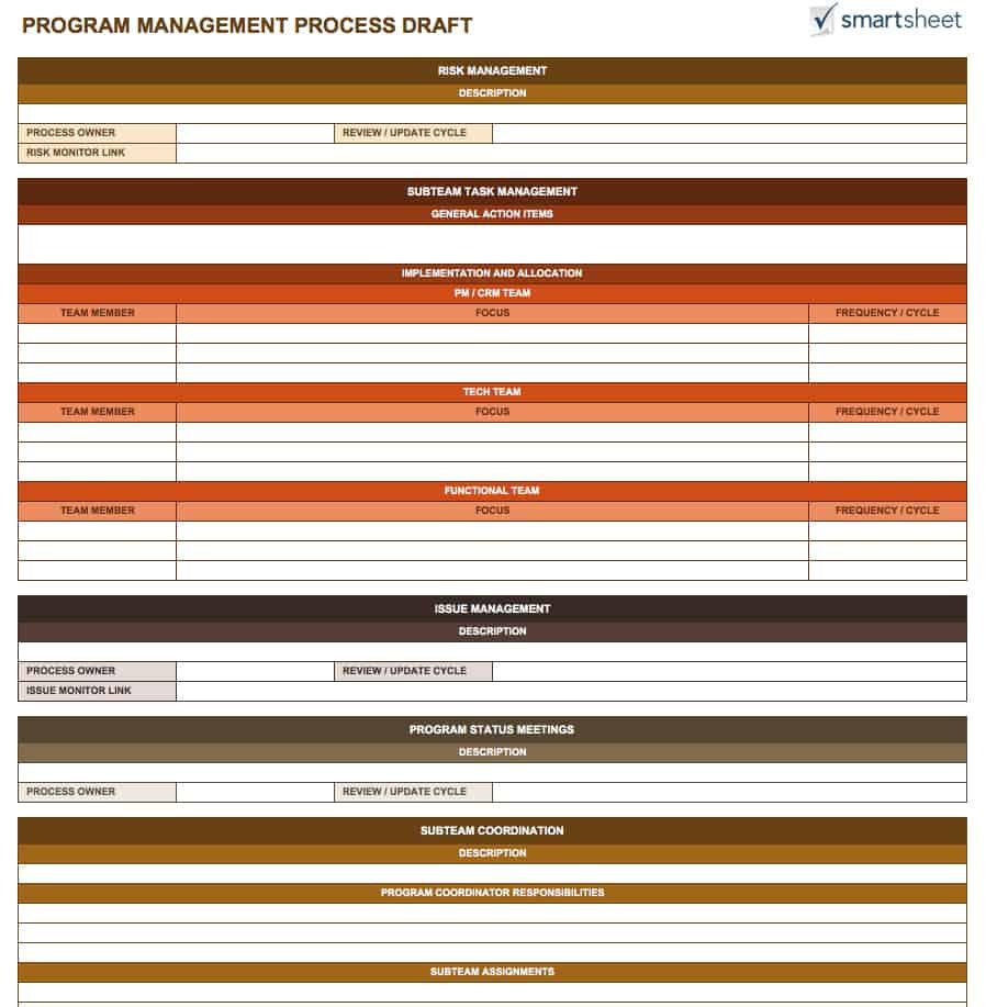 Free Program Management Templates Smartsheet - Program management plan template