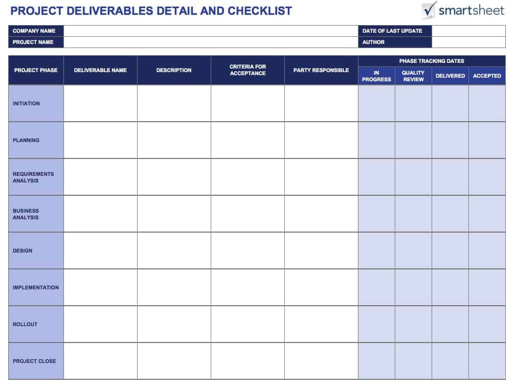 IC Project Deliverables Detail And Checklist