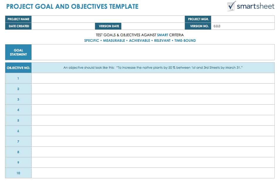 Download Project Goal And Objectives Template