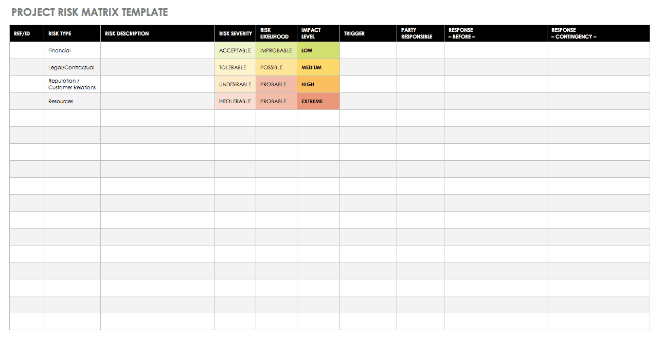 Project Risk Matrix Template