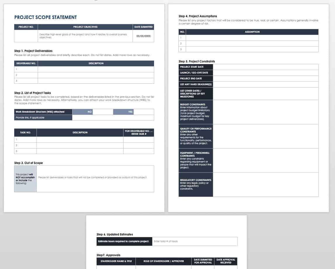 Project Scope Statement Template Word