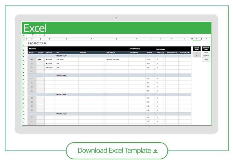 free task and checklist templates smartsheet