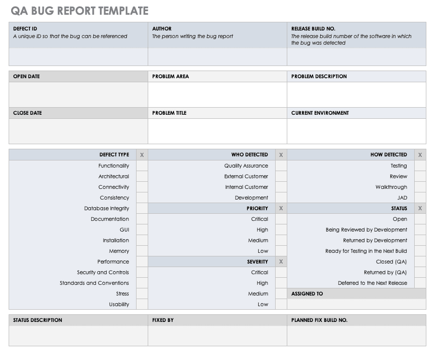 Quality Control Reports Template Collection