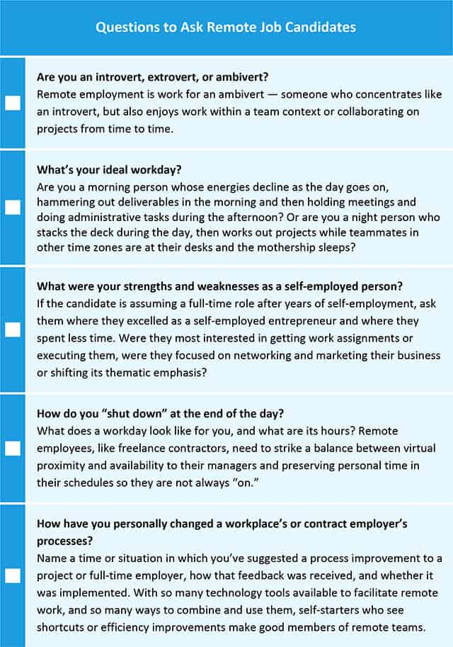 Questions to Ask Remote Job Candidate