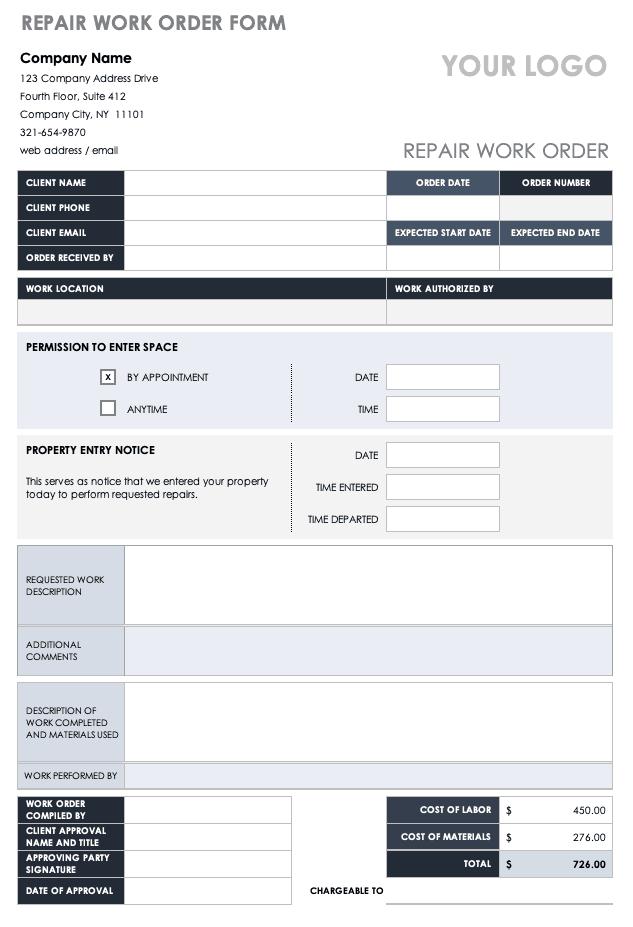 Repair Work Order Form Template