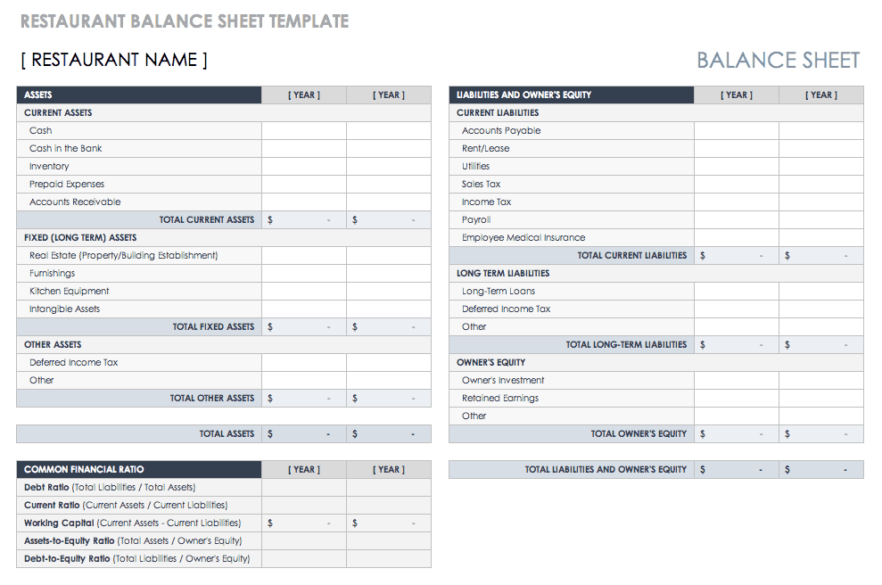 Restaurant Balance Sheet Template
