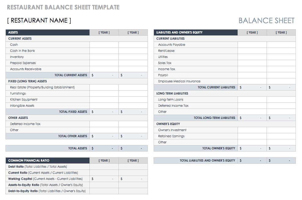 Free Balance Sheet Templates Smartsheet