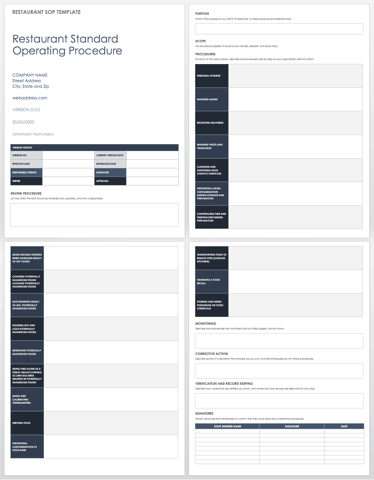 Standard Operating Procedures Templates | Smartsheet