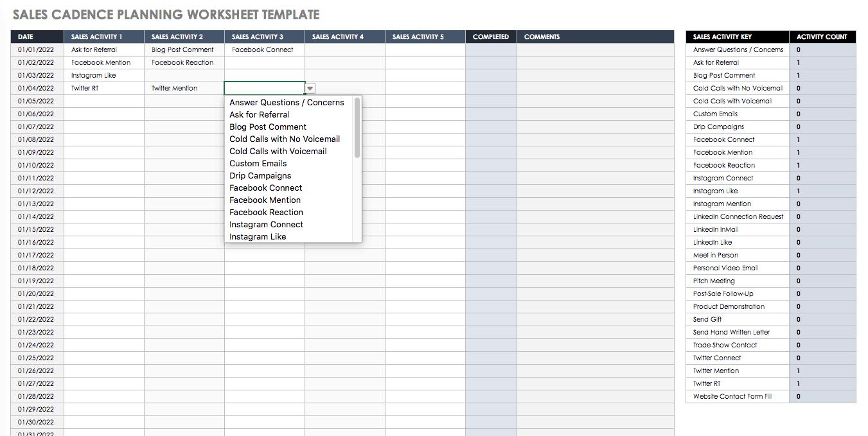 Sales Cadence Planning Worksheet Template