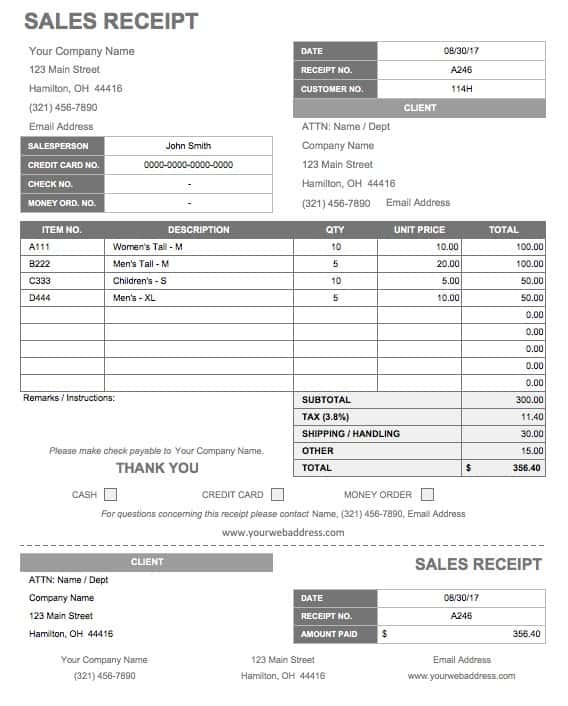 13 free business receipt templates smartsheet for Price my house free online