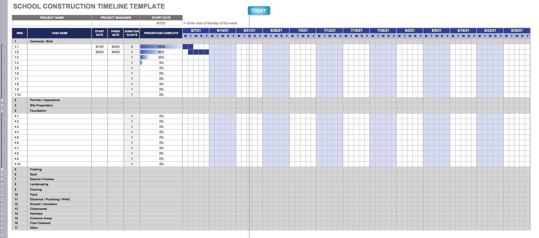 Construction Timeline Template Collection   Smartsheet