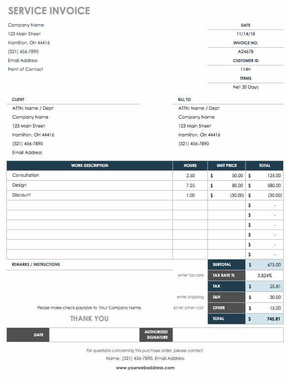 work order invoice template free  15 Free Work Order Templates | Smartsheet