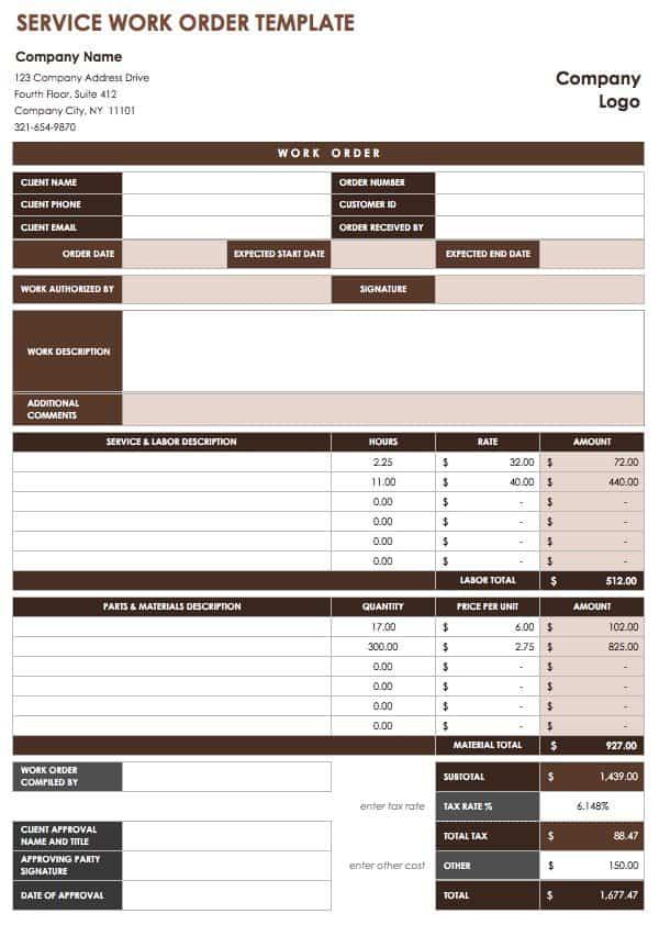 Free Work Order Templates Smartsheet - Work ticket template