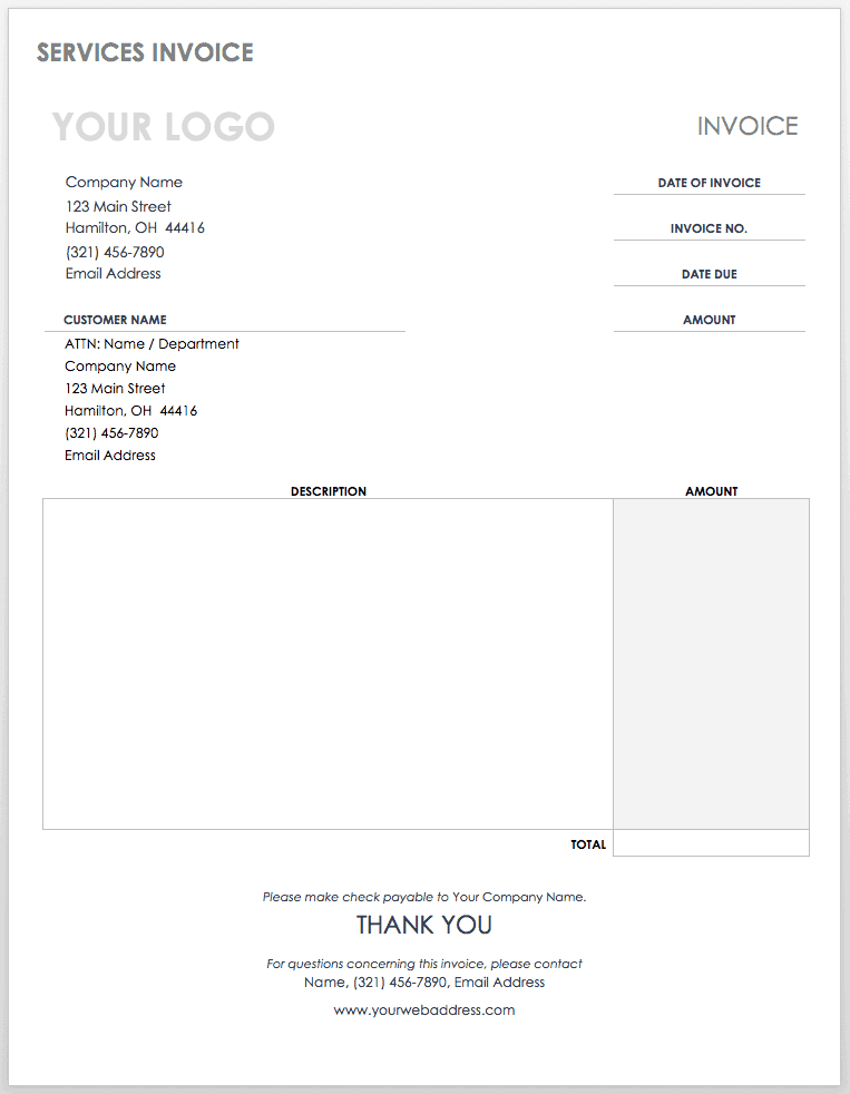 Service Invoice Template Word