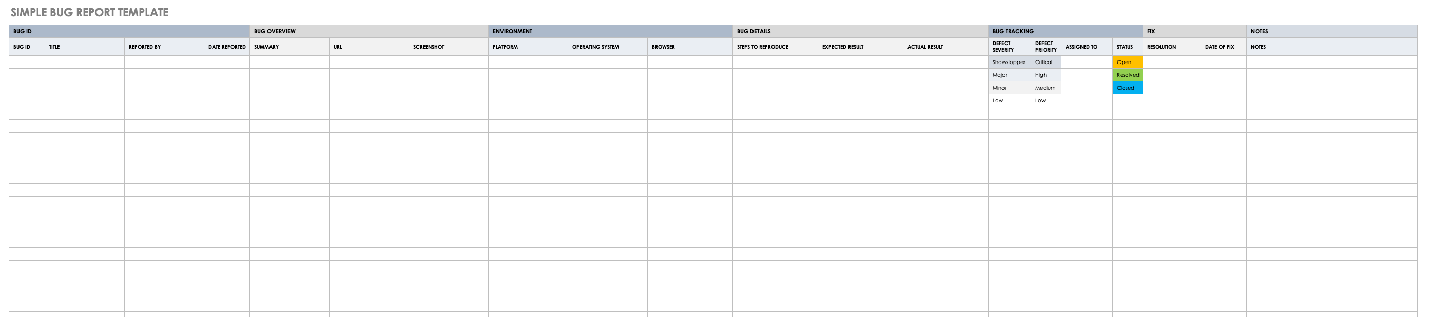 Free Bug Report Templates and Forms  Smartsheet For Fault Report Template Word