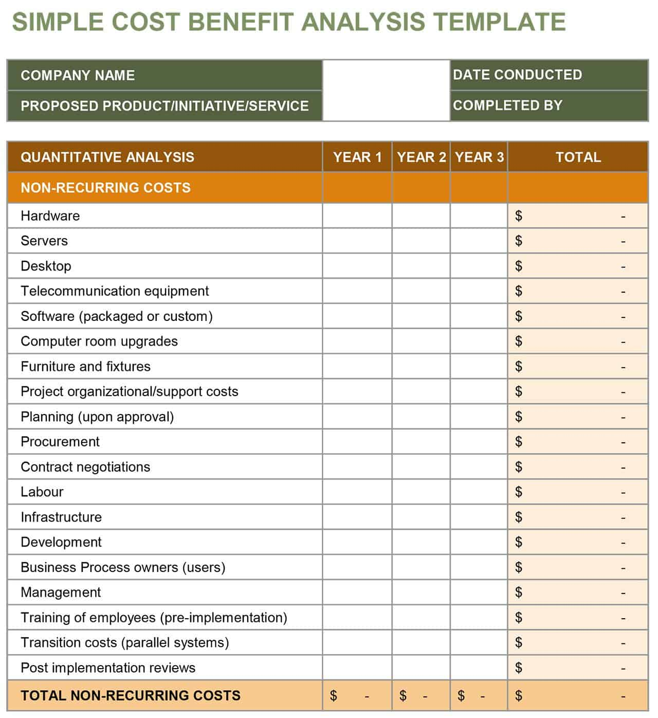 Download Simple Cost Benefit Analysis Template