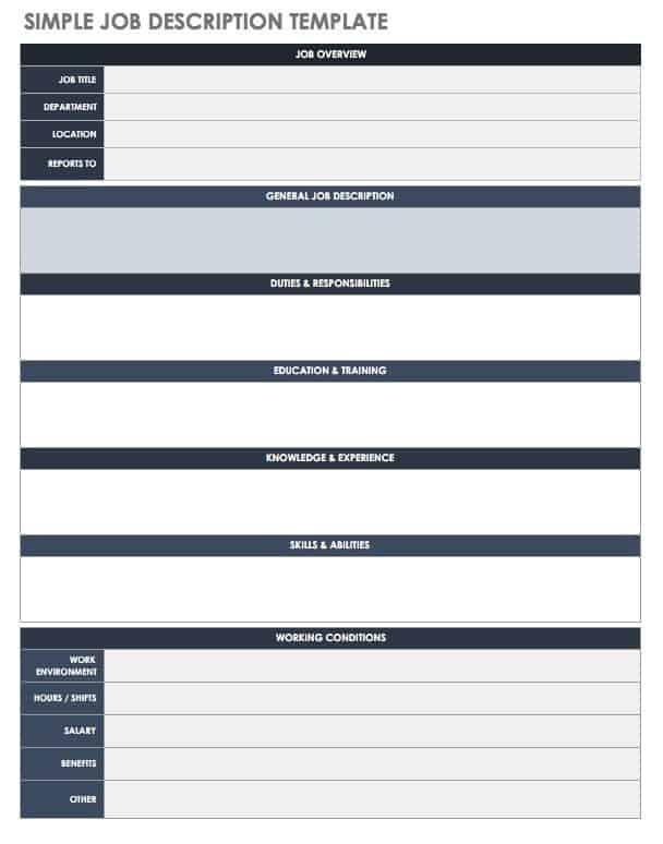 Free Job Description Templates Smartsheet