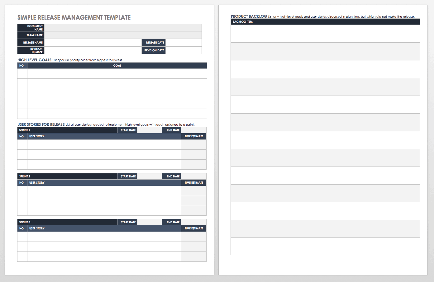 Simple Release Management Template