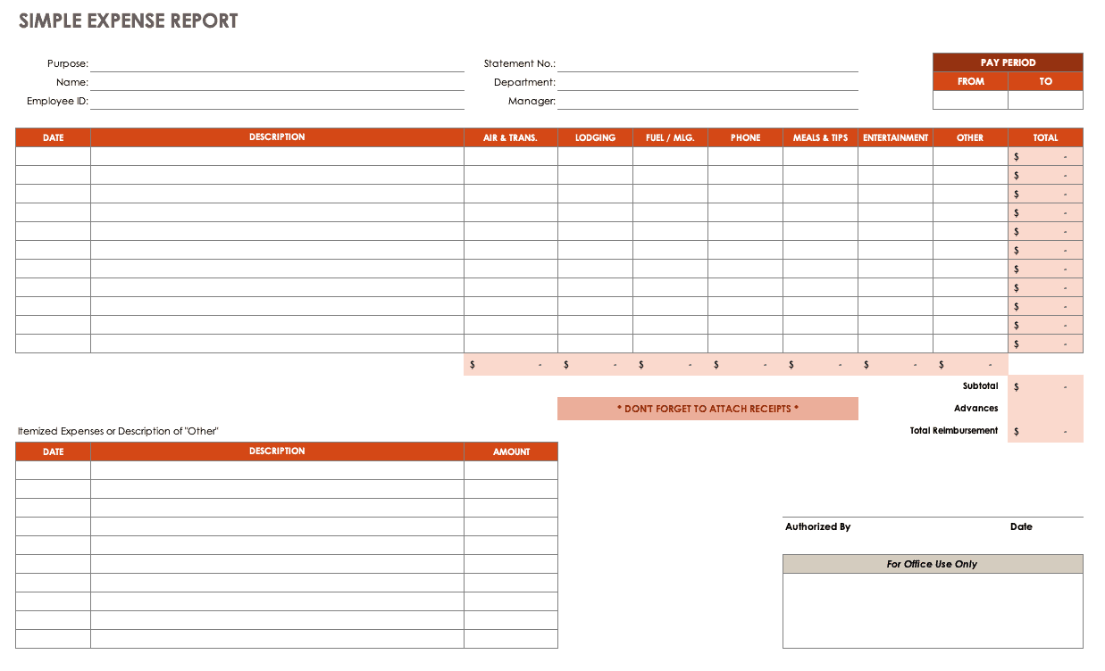 Expense report template | texas vet.