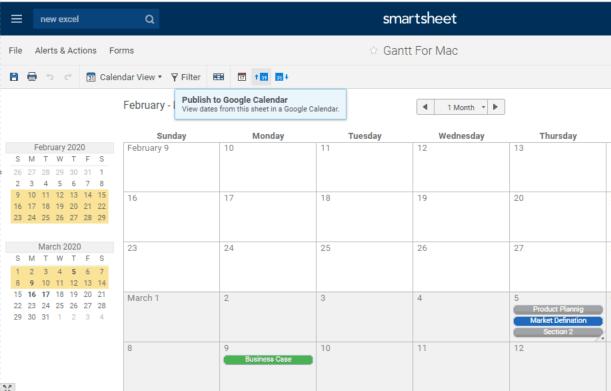 Smartsheet Publish Calendar