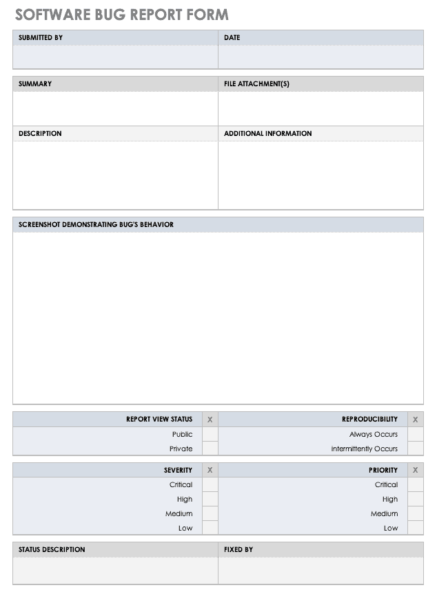 Software Bug Report Form Template