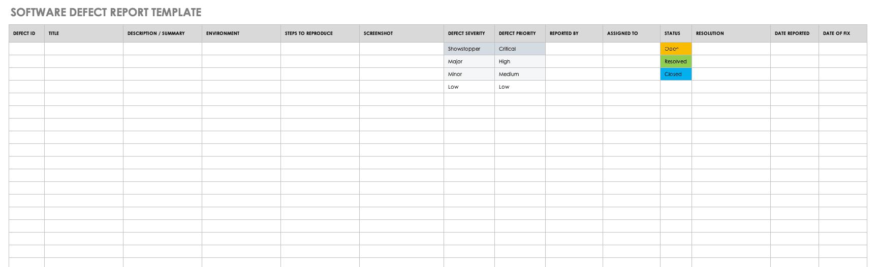 Defect Report Template In Excel from www.smartsheet.com