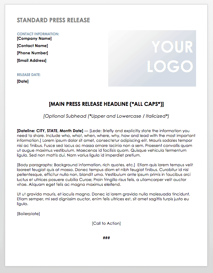 Free Press Release Templates | Smartsheet