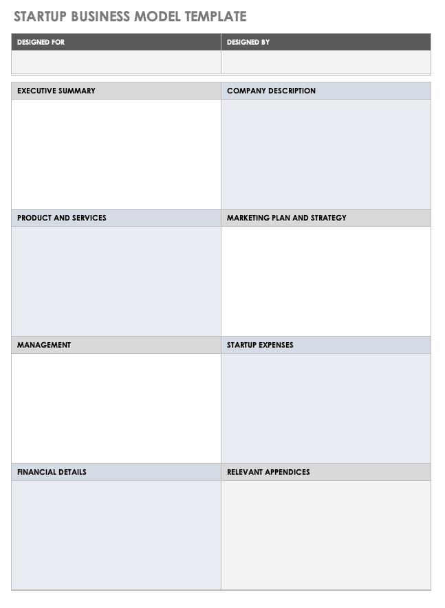 Startup Business Model Template