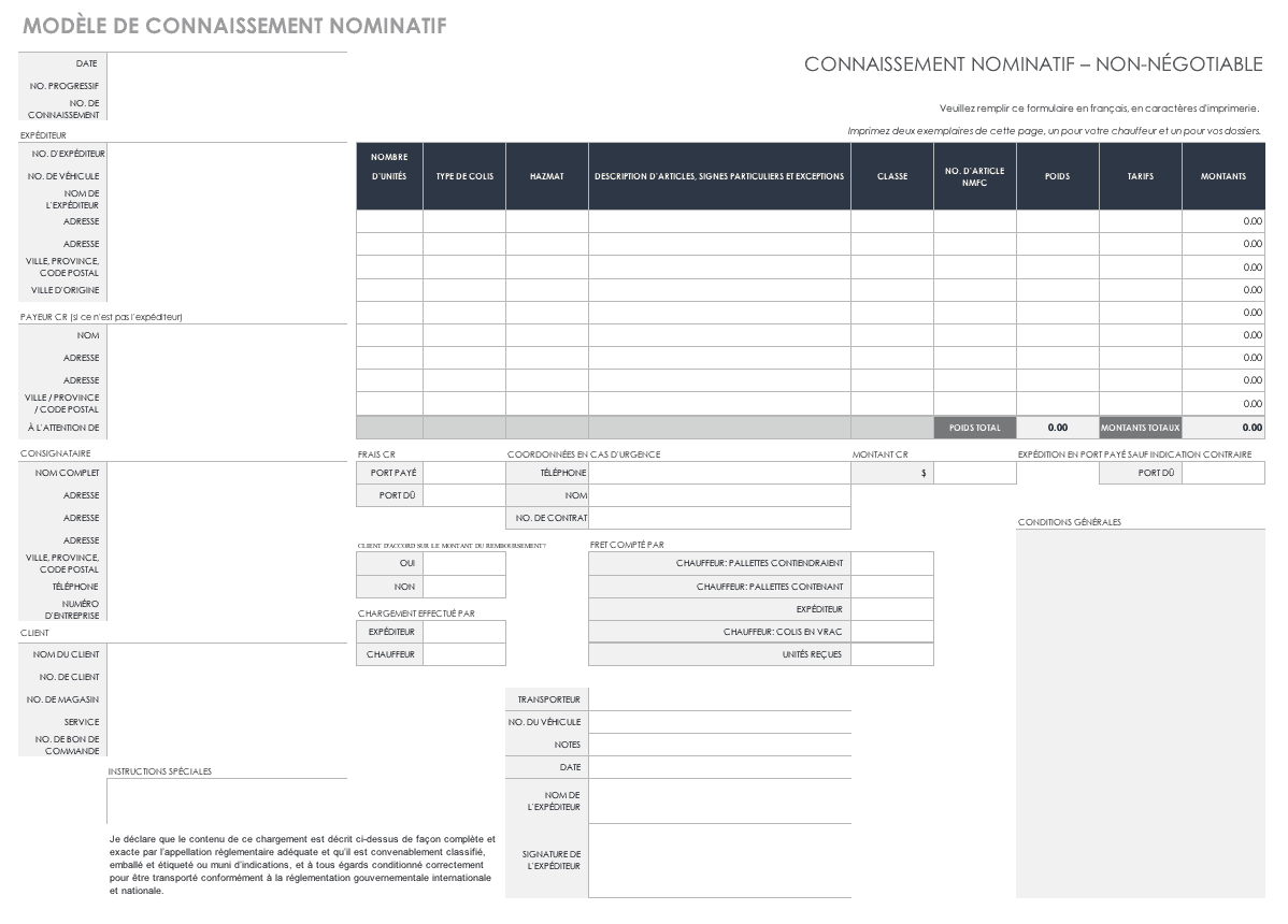 Straight Bill of Lading Template French