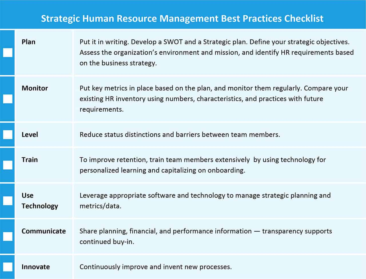Strategic Human Resource Management Best Practices Checklist