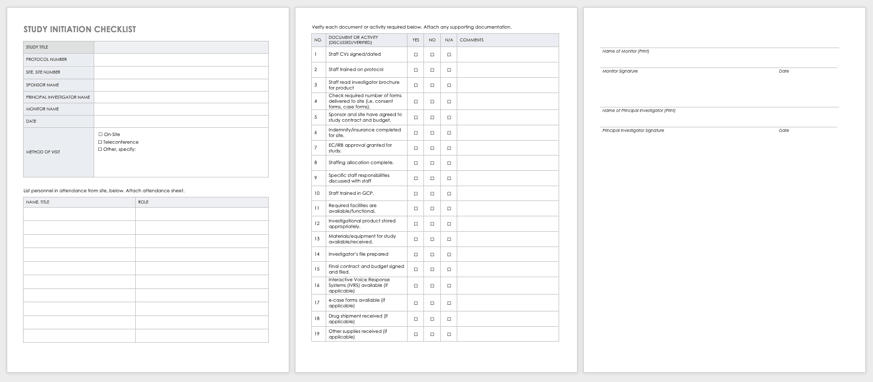 Study Initiation Checklist