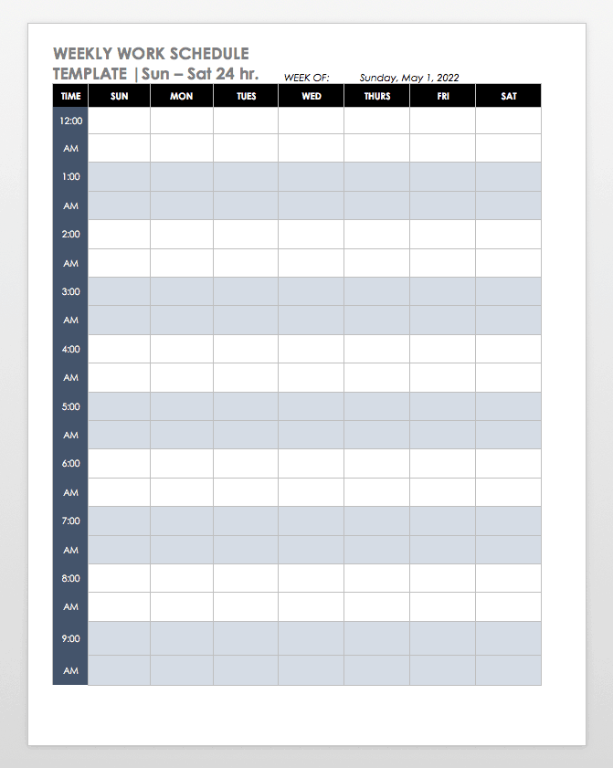 Sun - Sat 24h Weekly Work Schedule Template Word