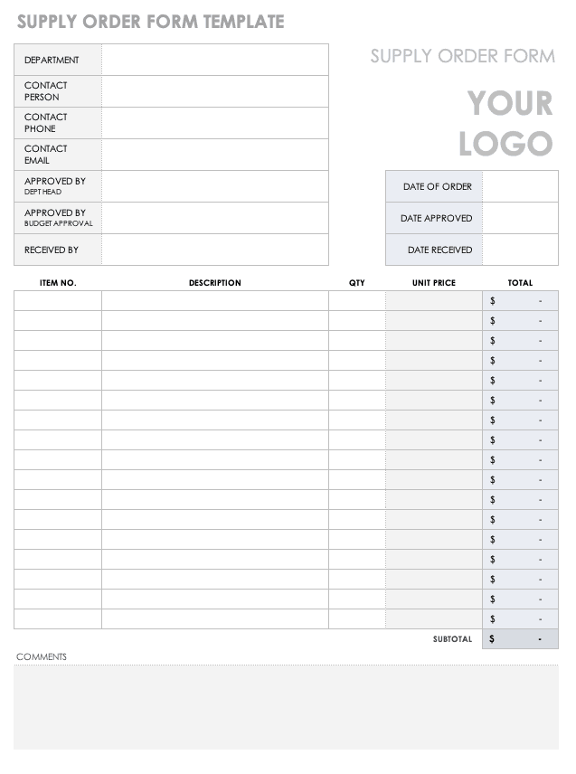 Supply Order Form Template