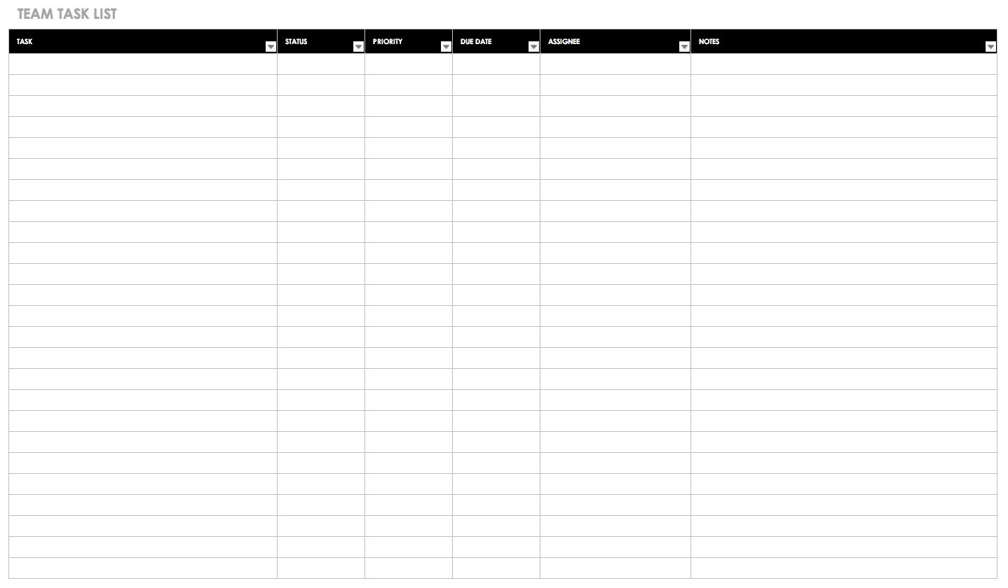 Team Task List Template