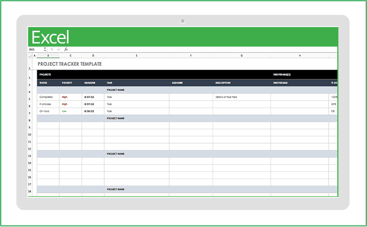 project tracking template excel 2010