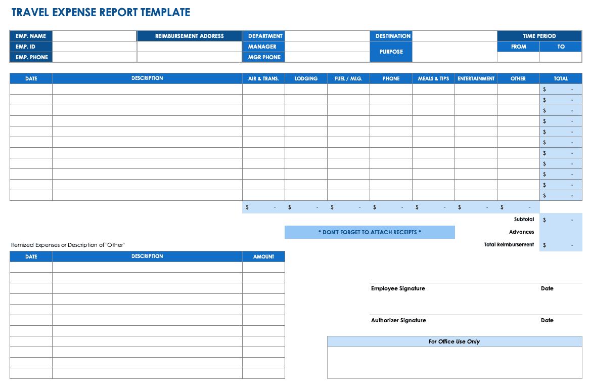 Free Expense Report Templates Smartsheet