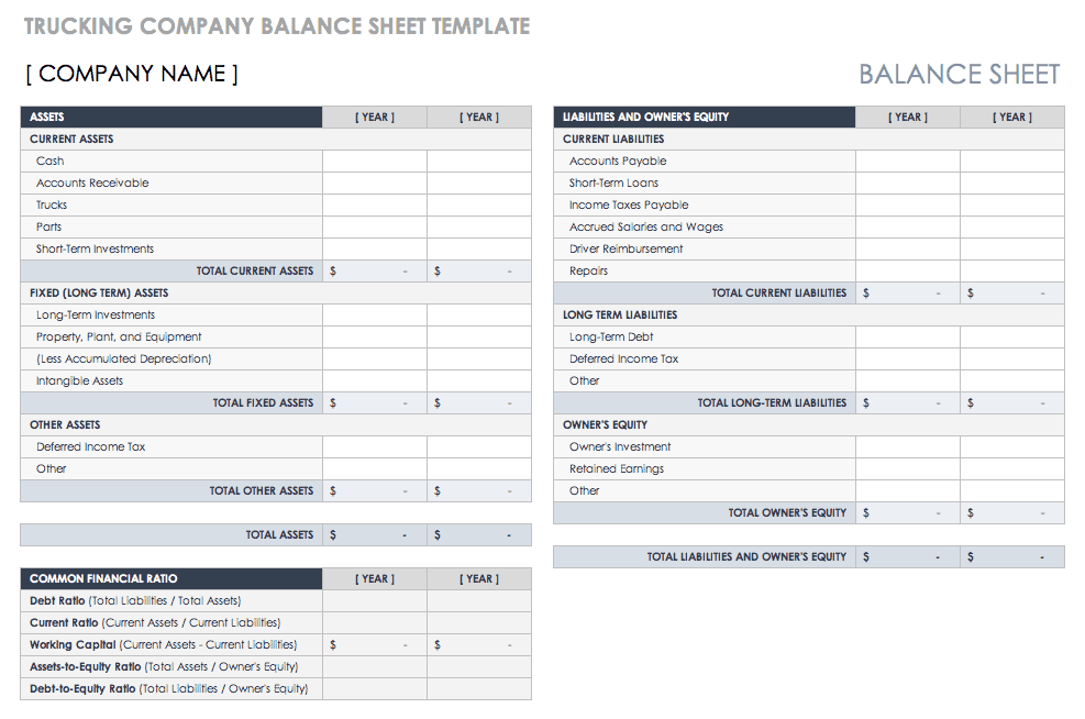 Trucking Company Balance Sheet Template