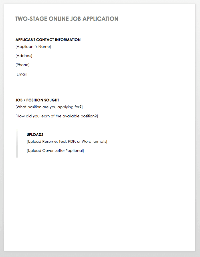 Two-stage Online Job Application Template