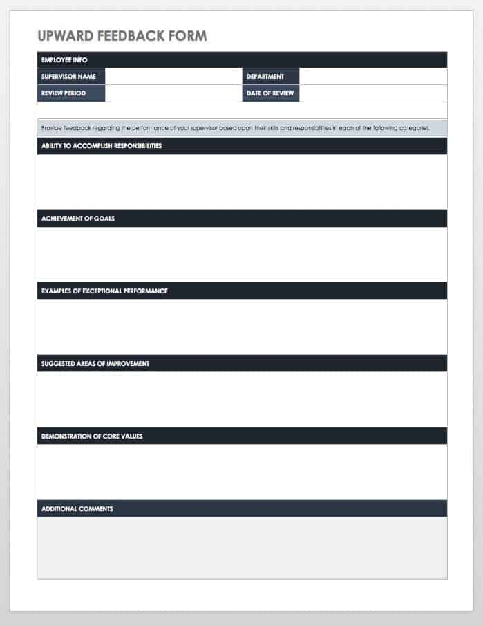 Upward Feedback Form Template