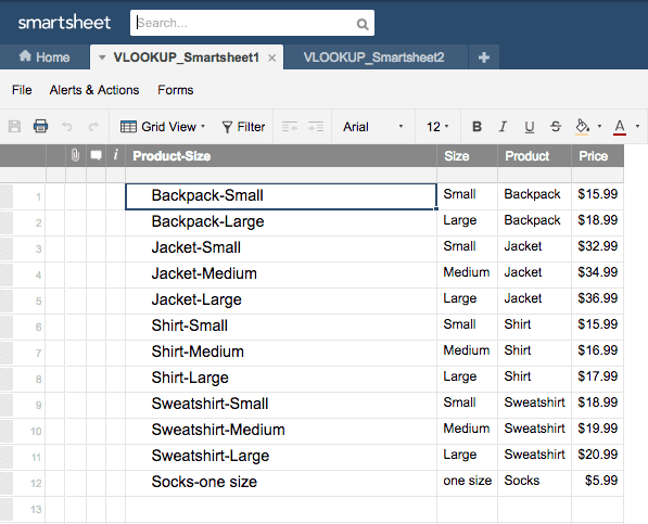 How to use VLOOKUP Smartsheet example