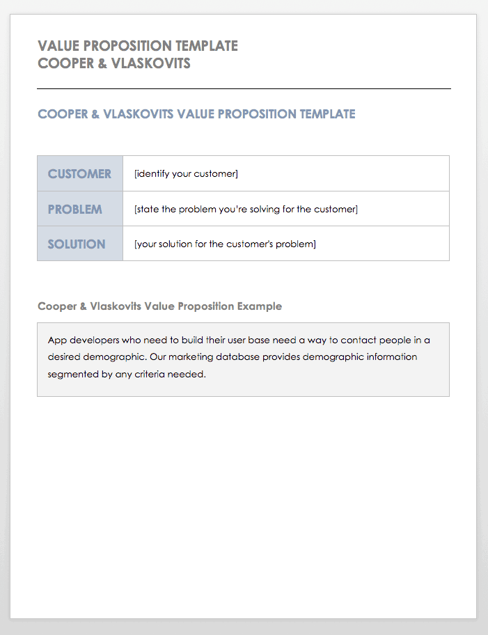 Positioning Statement Template Cooper and Vlaskovits