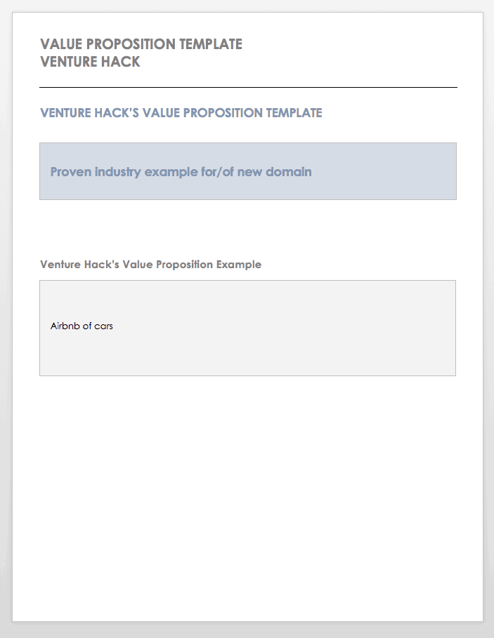 Positioning Statement Template Venture Hack