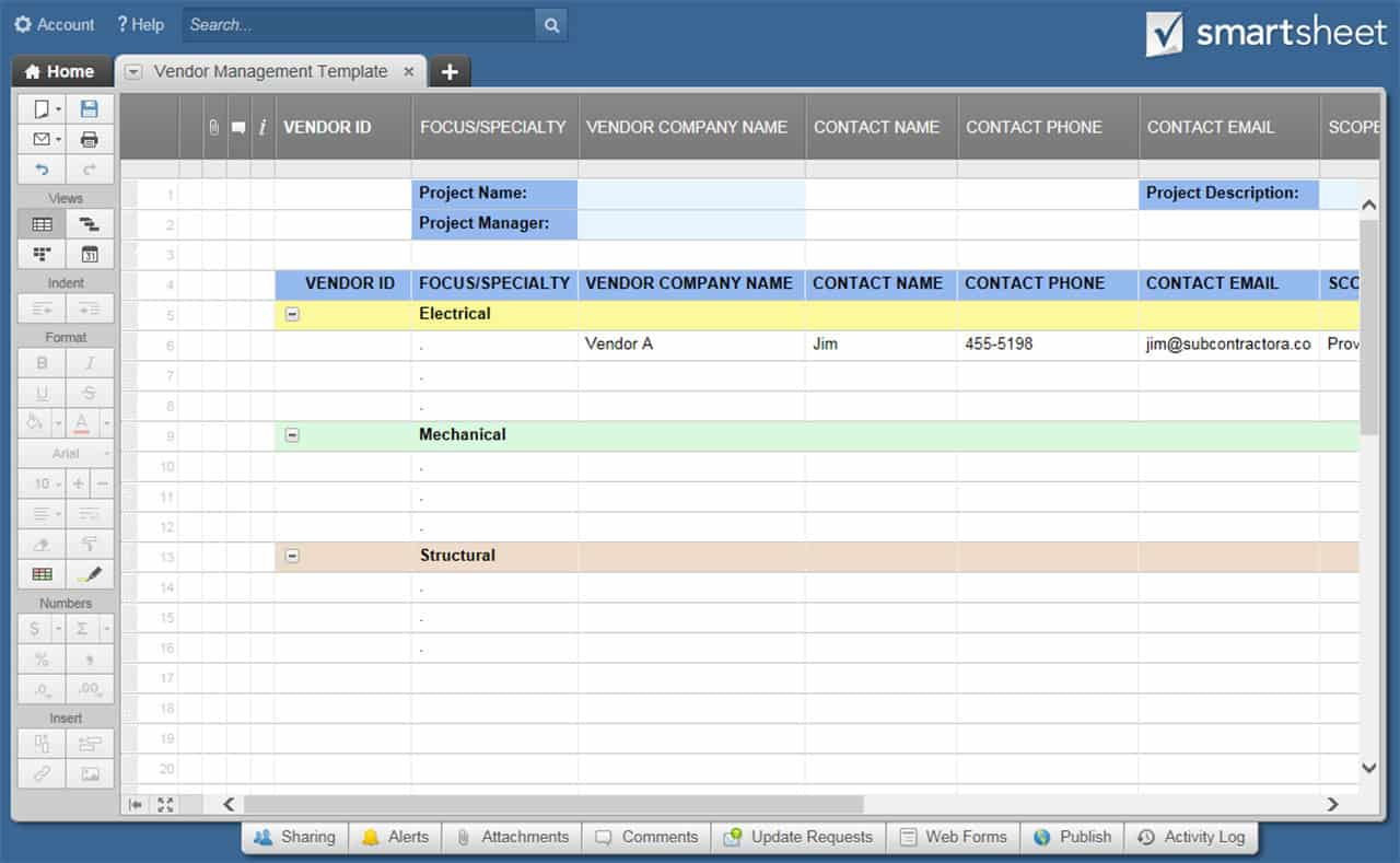 Vendor Management Smartsheet Template